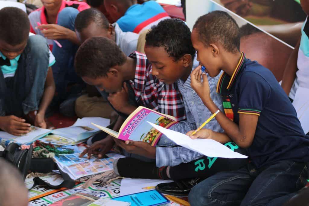 Boys reading books